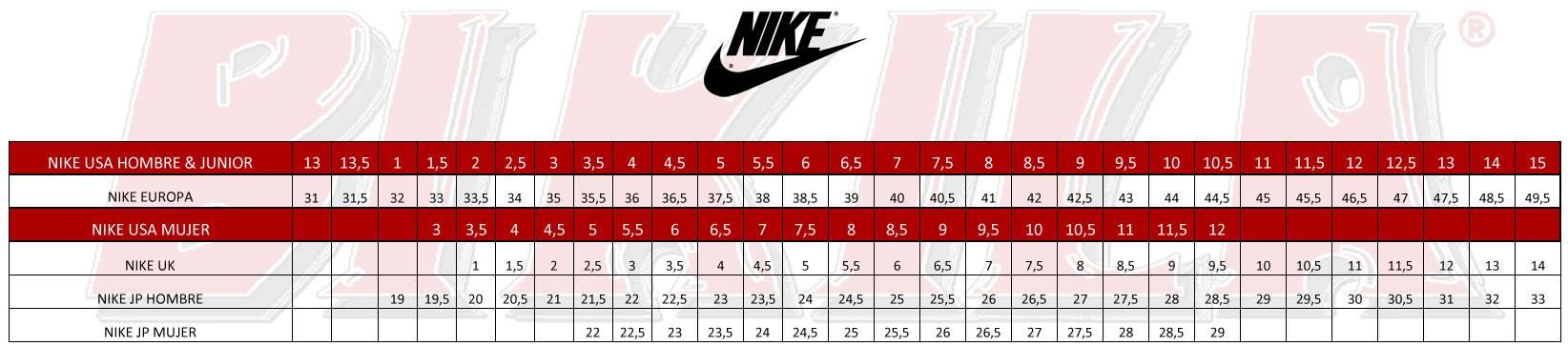 Tallas Nike